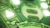 Pinball playfield closeup